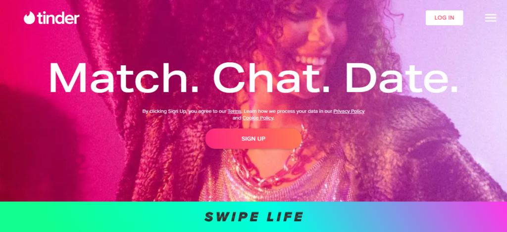 Tinder Homepage