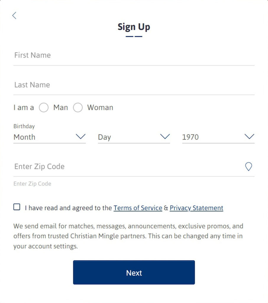 ChristianMingle Registration