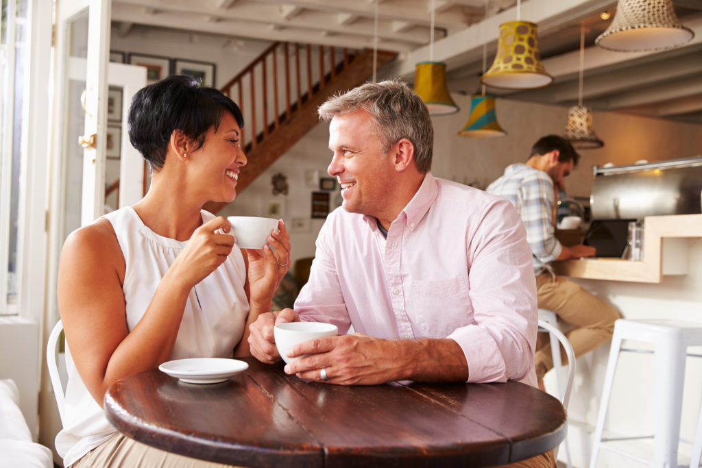 Couple enjoying coffee